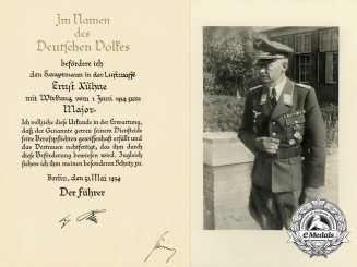 An Official 1939 Luftwaffe Promotion Document to Major Ernst Kühne Signed by Göring