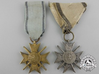 Two Bulgarian Military Order of Bravery, Soldier's Crosses for Bravery