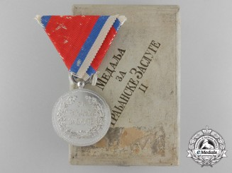 A Serbian Medal for Civil Merit; Second Class in Case of Issue