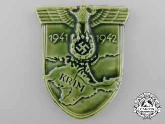 An Unusual Krim Campaign Shield in Green Porcelain