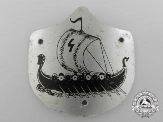A Scarce Second War German Wiking Ship Metal Badge