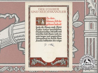 A German Golden Wedding Anniversary Award Document