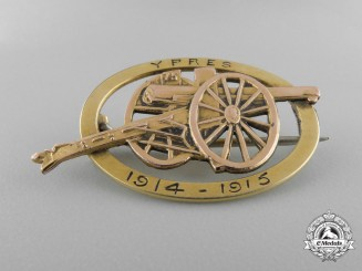 A 1914-15 Ypres Artillery Cannon Badge in Gold