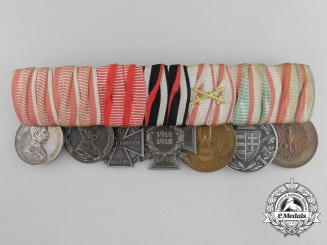 An Imperial Austrian First War Medal Bar with Seven Awards