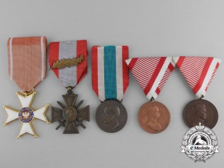 A Lot of Five European Medals and War Crosses
