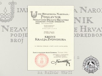 A Croatian Award Document for King Zvonimir's Medal to SS-Rottenführer Hans Muller