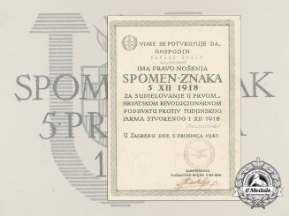 "A Very Rare Award Document for Commemorative Medal ""5. 12. 1918"" to Ustaša Josip Čavlek"