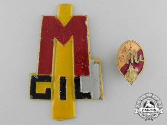 Two Italian Fascist Youth GIL (Gioventu Italiano Del Littorio) Insignia