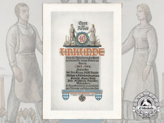 A 1936 Bavarian Industrial Honour Badge Award Document