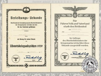 Two Submariner's Posthumous Award Documents to Gustav Adolf Schildt