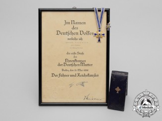 A German Mothers Cross; 1st Class with Award Document