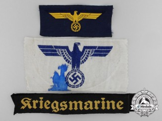 A Lot of Three Kriegsmarine Cloth Insignia