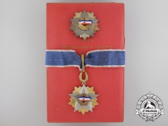 An Order of the Yugoslavian Flag with Golden Wreath & Case