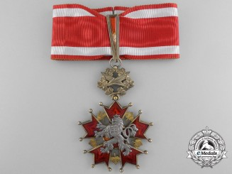 A Czechoslovakian Order of the White Lion; Commander's Cross by Karnet & Kysely