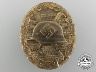 A German Second War Gold Grade Wound Badge by Klein & Quenzer