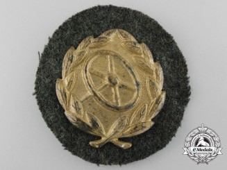 A Second War German Driver's Proficiency Badge; Gold Grade
