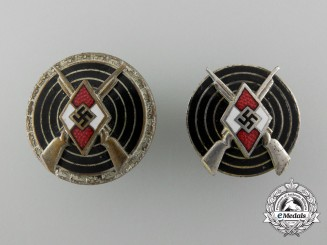 Germany, HJ. A Lot of Two Shooting Award Badges by Steinhauer & Lück
