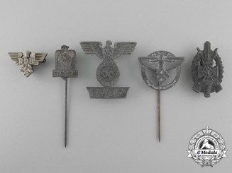 A Lot of Five Second War German Stick Pins and Badges