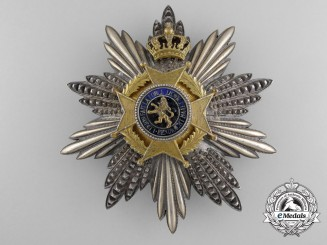 A Belgian Order of Leopold II; Grand Officer Breast Star by P.DeGreef