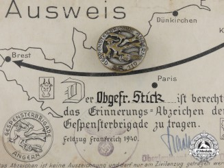 "A Civil Badge with Identity Card for 11th. Tank-division ""Angern""' also called ""Gespensterbrigade"""