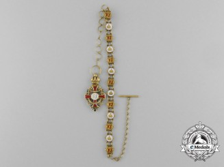 A Miniature Austrian Order of Franz Joseph Cross in 18k Gold