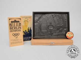 A 1936 XI Berlin Summer Olympic Games Grounds Boxed Model with Mirror, Brochure & Pamphlet