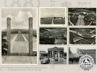 A Lot of Seven 1936 Berlin Olympic Games Postcards and Collectable Cards