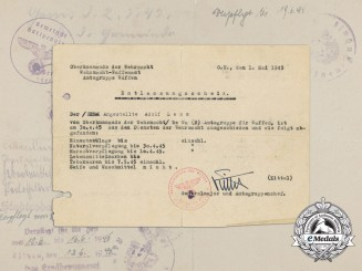 A 1945 Wehrmacht Discharge Certificate Signed by Major General Kittel