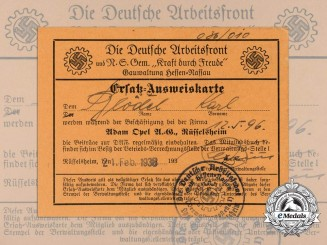 A 1938 German Labour Front ID Card; Opel Automobile Worker