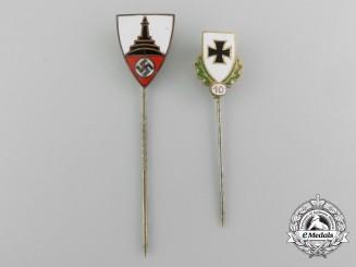 A Set of Two German Veterans Association Membership Stick Pins