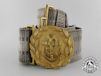 A Kriegsmarine Line Officer's Brocade Dress Belt with Buckle