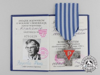 A Polish Inmates Cross with Award Document to Irena Rzegocka