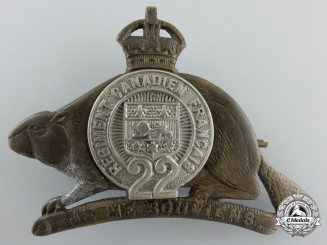 A First War Royal 22e Régiment Officer's Cap Badge