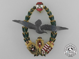 A Rare First War Austrian Marine Pilot Badge; Type II by J. Zimbler, Wien