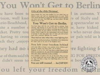 A Late War German Propaganda Leaflet against the G.I's of the 45th Division