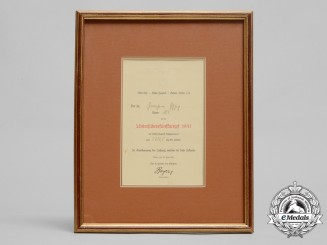 Germany, HJ. A 1941 Participation Certificate for Unterführer Pentathlon