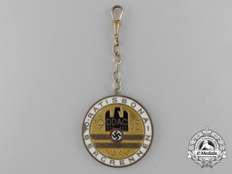 A 1935 German Automobile Club 10th Ratisbona Mountain Race Participant's Medal