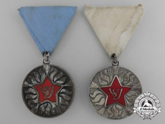 "Two Socialist Yugoslavian Firefighting ""Fire Star"" Medals; Silver Grade"