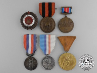 Six European Fire Fighting Medals & Awards