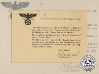 A German Day of Mourning Card; First War Soldiers