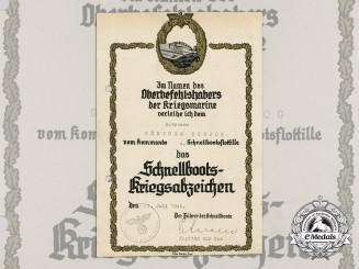 A 1944 E-Boat War Badge Award Document to Günther Herzog