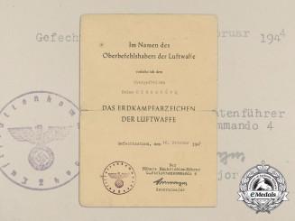 A Ground Assault Badge Award Document 1944