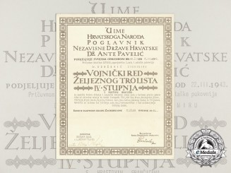 A Croatian Military Order of Trefoil Award Document to Ustasha Captain Commander