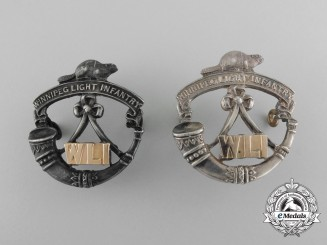A Set of Silver & Gold Winnipeg Light Infantry Officer's Collar Insignia by Birks