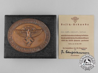 An NSFK Award Medallion 1938 with Award Document and Case