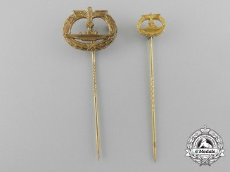 Two German Kriegsmarine U-Boot Stickpins