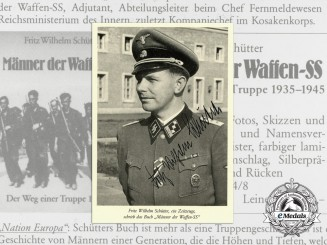 "A Signed Photograph of Fritz Schütter with an advert for his book ""Men of the Waffen-SS"""