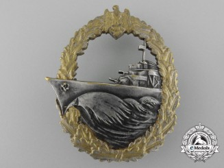 An Early Kriegsmarine War Destroyer Badge, in Tombac