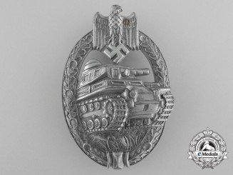 "A Mint Silver Grade Tank Badge by Maker ""AS"""