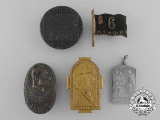 Five Imperial Austrian Regimental Cap Badges & Medals